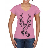 Tribal Stags Head Large Print V Neck Women's T-Shirt