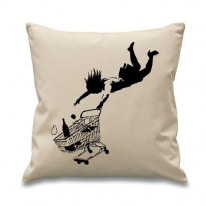 Banksy Shop Til You Drop Cushion