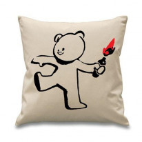 Banksy Teddy Bomber Cushion