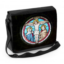 Jesus Crucifixion Stained Glass Laptop Messenger Bag