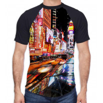 New York Times Square Men's All Over Graphic Contrast Baseball T Shirt