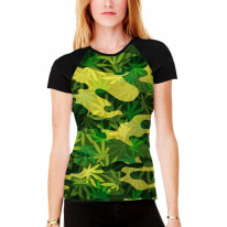 Camouflage Cannabis Leaves Women's All Over Graphic Contrast Baseball T Shirt