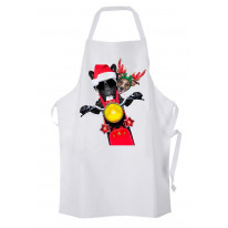 French Bulldog and Jack Russell Terrier Santa Claus Style Father Christmas Chef's Kitchen Apron