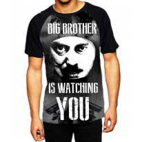 Big Brother is Watching You Men's All Over Print Graphic Contrast Baseball T Shirt
