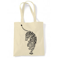 Tribal Tiger Tattoo Large Print Tote Shoulder Shopping Bag