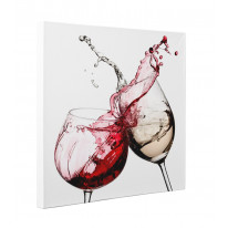 2 Wine Glasses Clinking Box Canvas Print Wall Art - Choice of Sizes