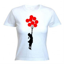 Banksy Girl With Red Balloons Ladies T-Shirt