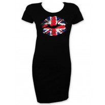 Union Jack Lips Short Sleeve T-Shirt Dress