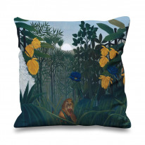 Henri Rousseau Repast Of The Lion Faux Silk 45cm x 45cm Sofa Cushion