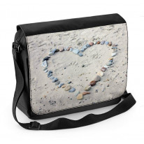 Love Heart Pebbles On Beach Laptop Messenger Bag