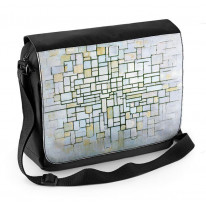 Piet Mondrian Composition in Grey Blue Laptop Messenger Bag