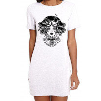 Devil Girl Satanic Cross Tattoo Large Print Women's T-Shirt Dress