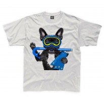 French Bulldog Scuba Diver Kids Childrens T-Shirt