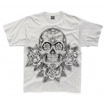 Skull and Roses Tattoo Large Print Kids Children's T-Shirt