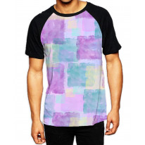 Pastel Squares Purple  Men's All Over Graphic Contrast Baseball T-Shirt