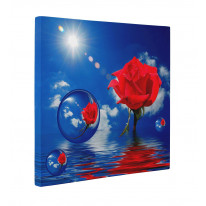 Red Rose Blue Sky with Bubbles Box Canvas Print Wall Art - Choice of Sizes