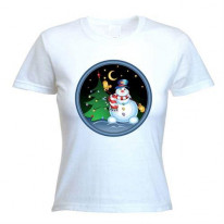 Snowman With Tree Women's Christmas T-Shirt
