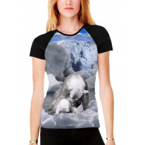 Mother Polar Bear and Baby Women's All Over Graphic Contrast Baseball T Shirt