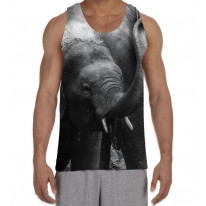 Baby Elephant Black and White Men's All Over Graphic Vest Tank Top