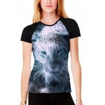 Fractal Leopard Women's All Over Graphic Contrast Baseball T Shirt