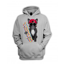 French Bulldog Skateboarder Men's Pouch Pocket Hoodie Hooded Sweatshirt