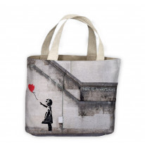 Banksy Girl With Heart Balloon Tote Shopping Bag For Life