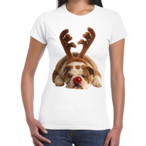 Bulldog Rudolph Reindeer Cute Christmas Women's T-Shirt