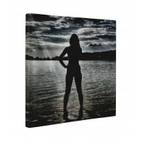 Female Nude Standing in Lake Box Canvas Print Wall Art - Choice of Sizes