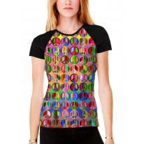 Peace Symbol Colourful Pattern Women's All Over Graphic Contrast Baseball T Shirt
