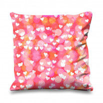 Scattered Love Hearts Cute Valentines Day Faux Silk 45cm x 45cm Sofa Cushion