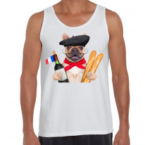 French Bulldog With Wine and Baguette Men's Tank Vest Top