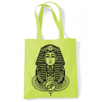 Egyptian Pharoah With Winged Ankh Symbol Large Print Tote Shoulder Shopping Bag