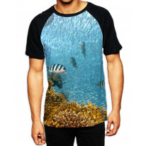 Fish Swimming Under Water Men's All Over Graphic Contrast Baseball T-Shirt