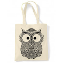 Cross Eyed Owl Large Print Tote Shoulder Shopping Bag