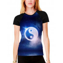 Yin and Yang Women's All Over Graphic Contrast Baseball T Shirt