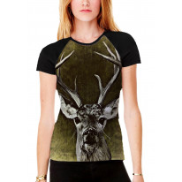 Shabby Chic Stag Women's All Over Graphic Contrast Baseball T Shirt
