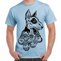 Pit Bull Terrier With Tattoos Hipster Large Print Men's T-Shirt