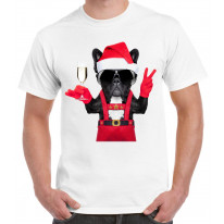 French Bulldog Santa Claus Style Father Christmas Men's T-Shirt