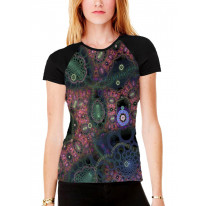 Psychedelic Fractal Loop Women's All Over Graphic Contrast Baseball T Shirt