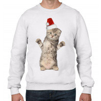 Kitten With Santa Claus Hat Christmas Men's Jumper \ Sweater