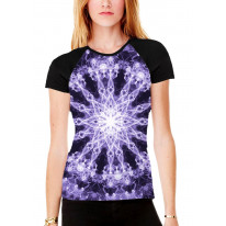 Electric Mandala Women's All Over Graphic Contrast Baseball T Shirt