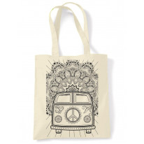 Hippie Van VW Camper Large Print Tote Shoulder Shopping Bag