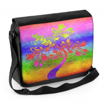 Psychedelic Autumn Tree Laptop Messenger Bag
