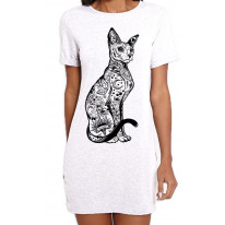 Cat With Tattoos Hipster Large Print Women's T-Shirt Dress