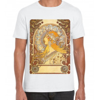 Alphonse Mucha The Zodiac Art Nouveau Large Print Men's T-Shirt