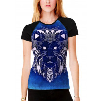 Tribal Lion Face Blue Women's All Over Graphic Contrast Baseball T Shirt