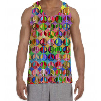 Peace Symbol Colourful Pattern Men's All Over Graphic Vest Tank Top