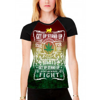 Bob Marley Get Up Stand Up Women's All Over Graphic Contrast Baseball T Shirt
