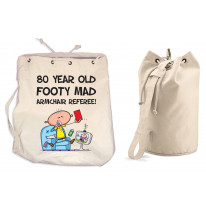 Footy Mad Armchair Referee Men's 80th Birthday Present Duffle Backpack Bag