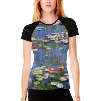 Claude Monet Water Lilies Women's All Over Graphic Contrast Baseball T Shirt